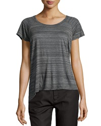 Vince Striped Raglan Scoop Neck Tee Dark Charcoal White