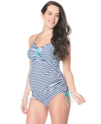 Motherhood Maternity Cross Back Striped Tankini Swimsuit