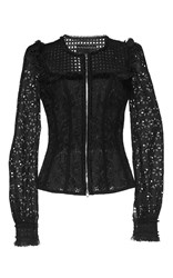 Andrew Gn Fitted Eyelet Jacket Black
