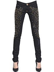 Philipp Plein Studded Stretch Cotton Denim Jeans Black
