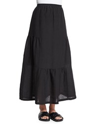 Eskandar Tiered Linen Maxi Skirt Black