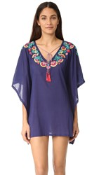 Ondademar Embroidered Poncho Blue