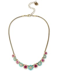 Betsey Johnson Gold Tone Crystal And Pave Flower Collar Necklace