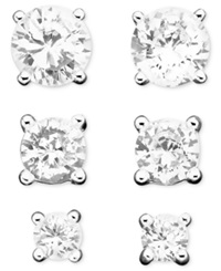 B. Brilliant Sterling Silver Earring Set Cubic Zirconia Stud 1 3 Ct. T.W. 2 3 4 Ct. T.W.
