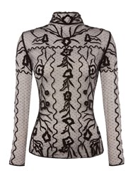 Endless Rose Longsleeve Lace Embroidered Top Black