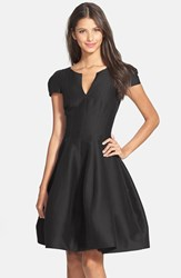 Women's Halston Heritage Cotton And Silk Fit And Flare Dress