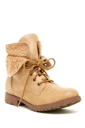 Rock And Candy Spraypaint Floral Lace Combat Boot Brown