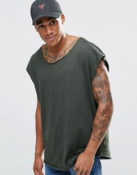 Asos Super Oversized Sleeveless T Shirt With Scoop Neck And Distressing Army Green