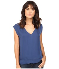 Heather Silk Double Layer V Neck Top Harbor Women's Blouse Blue