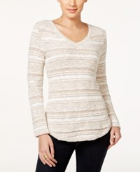 Styleandco. Style And Co. Petite Striped V Neck Sweater Only At Macy's Natural Heather White