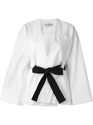 Each X Other Wide Sleeve Belted Jacket White