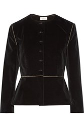 Isa Arfen Embroidered Stretch Velvet Blazer Black