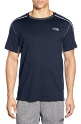The North Face Men's 'Kilowatt' Paneled Crewneck T Shirt Cosmic Blue Heather Grey