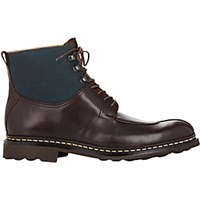 Heschung Men's Leather And Canvas Ginko Boots Dark Brown