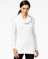 Jeanne Pierre Cowl Neck Cable Knit Sweater