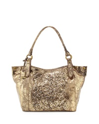 Deborah Glazed Leather Embellished Shoulder Bag Gold Frye