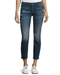 Dl1961 Davis Distressed Skinny Boyfriend Cropped Jeans Ravage Navy