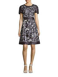 Kay Unger Printed A Line Dress Navy Multi