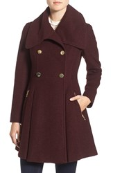Guess Petite Women's Envelope Collar Double Breasted Coat Wine