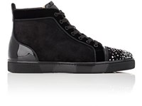Christian Louboutin Men's Crystal Embellished High Top Sneakers Black