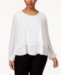 Ing Plus Size Printed Tiered Top Off White