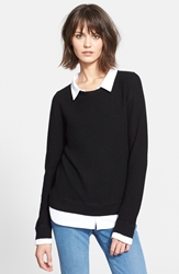 Joie 'Rika' Layered Look Wool And Cashmere Sweater Caviar
