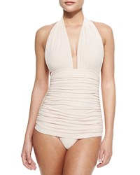 Norma Kamali Bill Ruched Halter Maillot Swimsuit Women's
