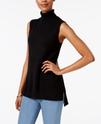 Charter Club Cashmere Sleeveless Turtleneck Sweater Only At Macy's Classic Black