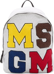 Msgm Heather Grey Varsity Backpack