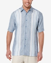 Cubavera Men's Linen Embroidered Stripe Short Sleeve Shirt Coronet Blue