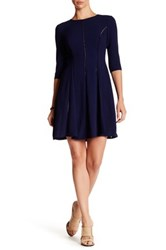 Taylor Fagoting Stitch Crepe Dress Blue