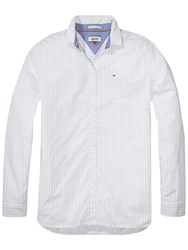 Tommy Hilfiger Denim Long Sleeve Stripe Shirt White Navy