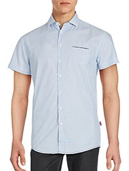 English Laundry Short Sleeve Cotton Sport Shirt Blue