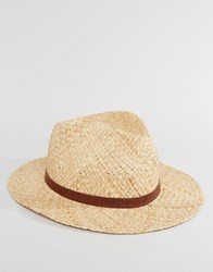 Catarzi Straw Fedora With Leather Band Beige