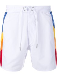 Saint Laurent Swimming Trunks With Rainbow Side Panels White
