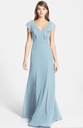 Women's Jenny Yoo 'Cecilia' Ruffled Chiffon Long Dress Ceil Blue