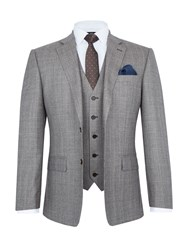 Paul Costelloe Charing Check Wool Three Piece Suit Taupe