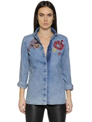 Diesel Embroidered Faded Cotton Denim Shirt