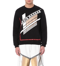 Nasir Mazhar Abstract Print Cotton Jersey Sweatshirt Black