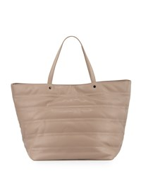 Neiman Marcus Quilted Faux Leather Tote Bag Taupe Brown
