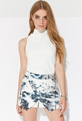 Forever 21 Ministry Of Style Collosal Skort White Blue