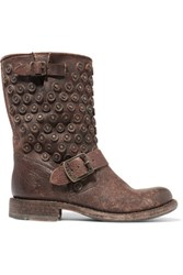 Frye Jenna Distressed Leather Boots Brown