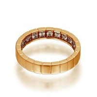Openjart Sapphires Inside Women's Notched Wedding Ring Gold