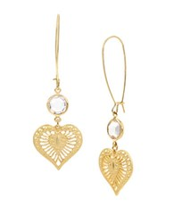 Betsey Johnson Throwback Faceted Stone And Heart Drop Earrings Gold