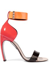 Nicholas Kirkwood Maeva Color Block Patent Leather Sandals Coral