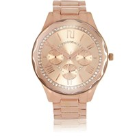 River Island Womens Rose Gold Tone Faceted Diamante Watch