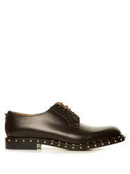 Valentino Rockstud Lace Up Leather Derby Shoes Black