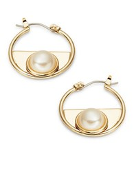 Design Lab Lord And Taylor Faux Pearl Accented Hoop Earrings 0.75 In Gold
