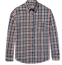 The Elder Statesman Checked Cotton Flannel Shirt Navy