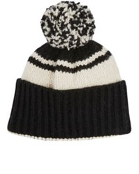 The Elder Statesman Men's Twist Cashmere Pom Pom Cap Black White Black White